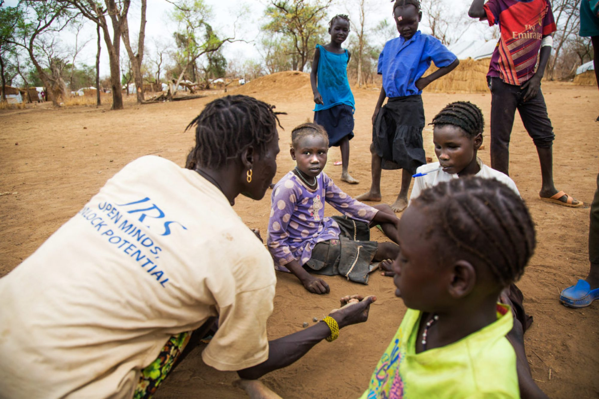 Children play during a break at the Offra school, in Maban, South Sudan.